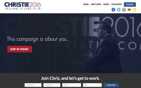 Screenshot of Home Page chrischristie.com captured Nov. 28, 2015