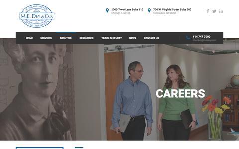 Screenshot of Jobs Page medey.com - Careers - M.E. Dey & Co. - captured Feb. 3, 2016