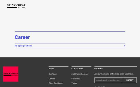 Screenshot of Jobs Page stickybeat.no - Career - Sticky Beat - captured Oct. 16, 2018