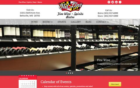 Screenshot of Home Page oldlinewine.com - Old Line Fine Wine, Spirits & Bistro  HOME » Old Line Fine Wine, Spirits & Bistro - captured Oct. 7, 2014