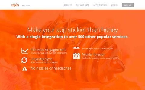 Screenshot of Developers Page zapier.com - Developer Platform - Zapier - captured Dec. 3, 2015
