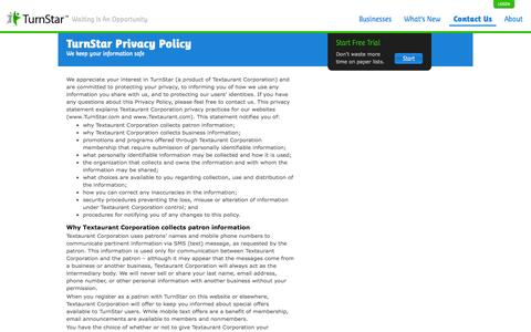 Screenshot of Privacy Page turnstar.com - Privacy Policy | TurnStar - TurnStar - captured Sept. 17, 2014