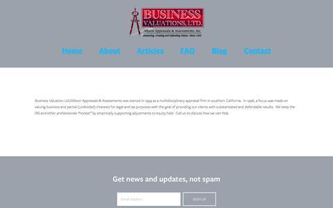 Screenshot of About Page bizvalsltd.com - About — Business Valuations Ltd. - captured Nov. 23, 2016