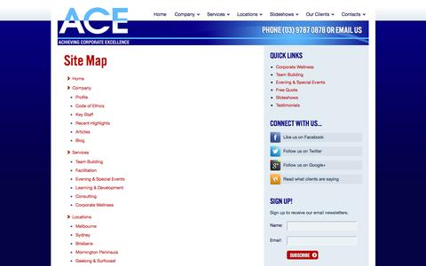 Screenshot of Site Map Page acetraining.com.au - A.C.E. Training and Consulting, Melbourne, Australia | A.C.E. - captured Nov. 16, 2016