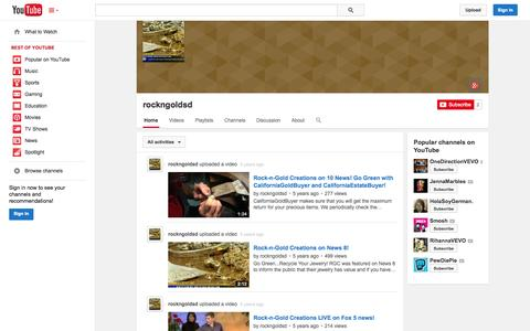 Screenshot of YouTube Page youtube.com - rockngoldsd  - YouTube - captured Oct. 26, 2014