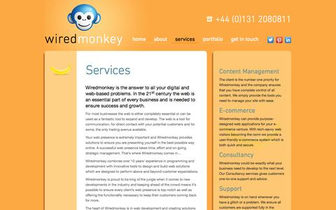 Screenshot of Services Page wiredmonkey.co.uk - Web Development, Social Media and Ecommerce in Edinburgh - Wiredmonkey - captured Oct. 7, 2014
