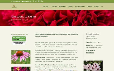 Screenshot of Maps & Directions Page klehm.org - Driving Directions To Klehm | Klehm Arboretum & Botanic Garden - captured Nov. 27, 2016