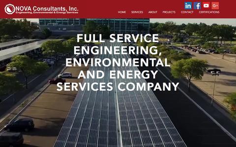 Screenshot of Home Page novaconsultants.com - Solar Design, Environmental Engineering - captured Nov. 30, 2016