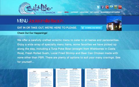 Screenshot of Menu Page saltlifefoodshack.com - MENU Jacksonville Beach | Salt Life Food Shack - captured Sept. 30, 2014