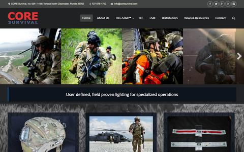 Screenshot of Home Page coresurvival.com - CORE Survival | Multi-Function Marker Lights - captured Jan. 23, 2015