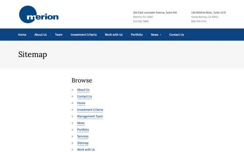 Screenshot of Site Map Page merionpartners.com - Sitemap - Merion - captured Nov. 15, 2018