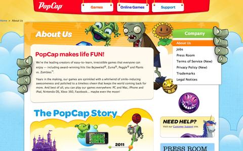 Screenshot of About Page popcap.com - PopCap Games | About Us - captured Sept. 17, 2014