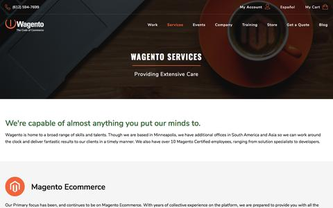 Screenshot of Services Page wagento.com - Magento Service in Minneapolis MN | eCommerce Services | Development | API | Training | Support - captured Sept. 22, 2018