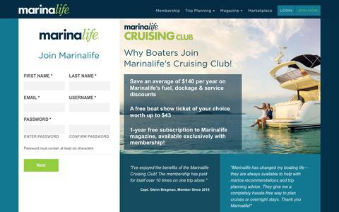 Screenshot of Signup Page marinalife.com - Sign Up - Marinalife - captured Oct. 1, 2018