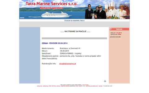Screenshot of Home Page tatramarine.sk - Tatra Marine - captured Oct. 7, 2014