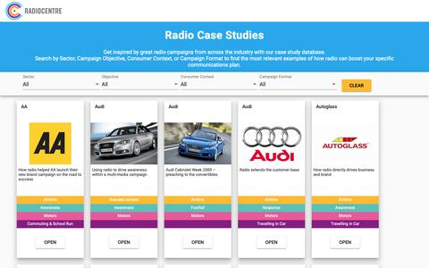 Screenshot of Case Studies Page radiocentre.org - Radio Ads Case Study Database - captured Oct. 19, 2018