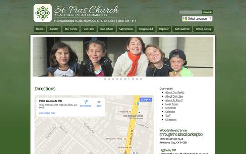 Screenshot of Maps & Directions Page pius.org - St. Pius Church | Directions - captured June 14, 2016