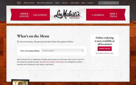 Screenshot of Menu Page loumalnatis.com - Our Menu | Lou Malnati's Pizzeria - captured June 30, 2016