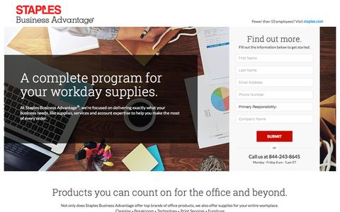 Screenshot of Landing Page staplesadvantage.com - Business Supplies | Staples Business Advantage Home - captured March 7, 2017