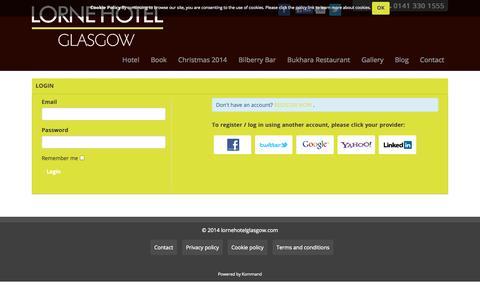 Screenshot of Login Page lornehotelglasgow.com - Login - captured Sept. 30, 2014