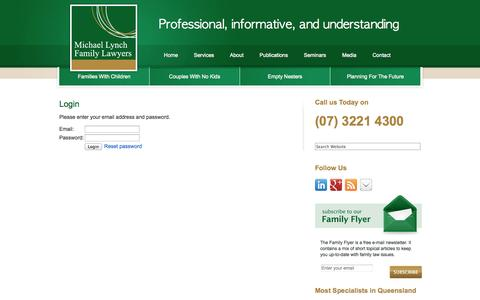 Screenshot of Login Page michaellynchfamilylawyers.com.au - « Michael Lynch Family Lawyers Brisbane - captured Oct. 27, 2014