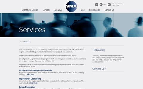Screenshot of Services Page smaworld.com - Services | SMA - captured Oct. 3, 2014