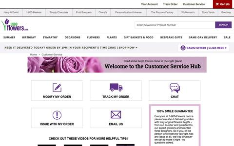 Screenshot of Support Page cheryls.com - Customer Service | 1800Flowers.com - captured Aug. 5, 2019