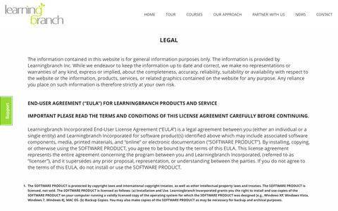Screenshot of Terms Page learningbranch.com - legal | Learning Branch - captured Oct. 2, 2014
