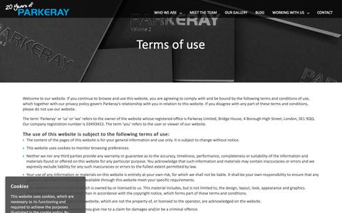 Screenshot of Terms Page parkeray.co.uk - Terms of use - Parkeray - captured Sept. 26, 2018
