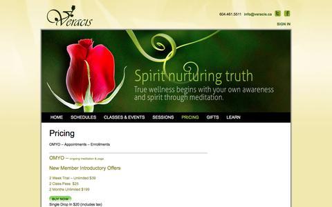 Screenshot of Pricing Page veracis.ca - Pricing | Veracis Meditation, Yoga & Wellness Centre - captured Nov. 13, 2017