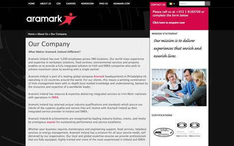 Screenshot of About Page aramark.ie - Our Company - Aramark - captured Oct. 1, 2014