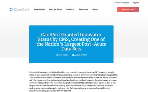 Screenshot of Blog careporthealth.com - CarePort Granted Innovator Status by CMS, Creating One of the Nation's Largest Post-Acute Data Sets - Careport Health - captured Feb. 20, 2020