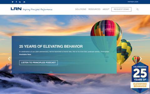 Screenshot of Home Page lrn.com - LRN Corporation – Inspiring Principled Performance - captured July 21, 2019