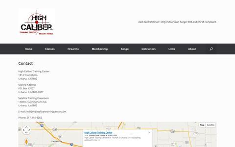 Screenshot of Contact Page highcalibertrainingcenter.com - Contact   High Caliber Training Center & Indoor Range - captured Oct. 3, 2014