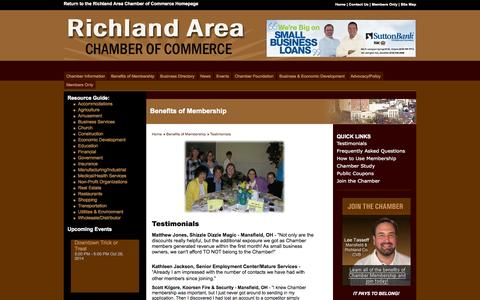 Screenshot of Testimonials Page mrachamber.com - Mansfield-Richland Area Chamber of Commerce - Mansfield, OH - captured Oct. 26, 2014