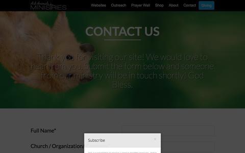 Screenshot of Contact Page arkanimalsministries.org - Contact Us | - captured Dec. 26, 2015