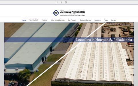 Screenshot of Home Page merfish.com - Merfish Pipe & Supply - captured Sept. 6, 2015