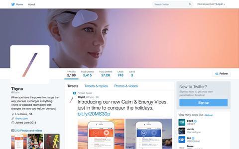 Screenshot of Twitter Page twitter.com - Thync (@thync) | Twitter - captured Nov. 11, 2015