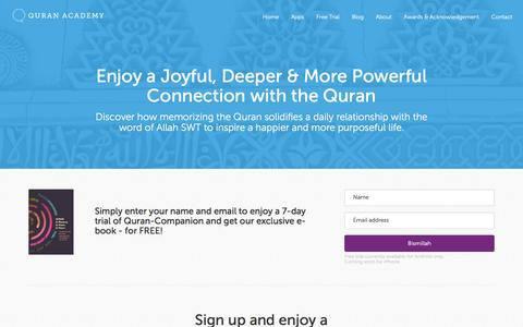 Screenshot of Trial Page quranacademy.io - Quran Academy - Free Trial - captured July 20, 2016