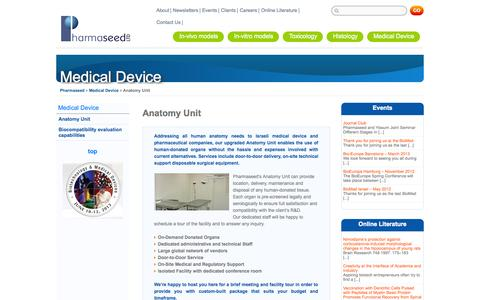 Screenshot of Services Page pharmaseedltd.com - Anatomy Unit - captured Sept. 29, 2014