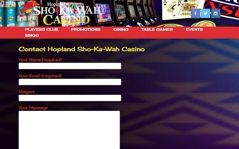 Screenshot of Contact Page shokawah.com - Contact Hopland Sho-Ka-Wah Casino - captured Feb. 2, 2016