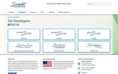 Screenshot of Developers Page scriptel.com - For Developers - Scriptel.com - captured June 16, 2017