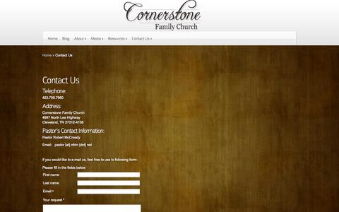 Screenshot of Contact Page cfctn.net - Contact Us | Cornerstone Family Church - captured Oct. 3, 2014