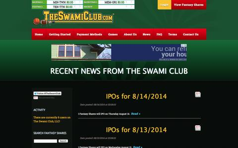 Screenshot of Press Page theswamiclub.com - The Swami Club - Fantasy Sports at it Best! - captured Oct. 26, 2014