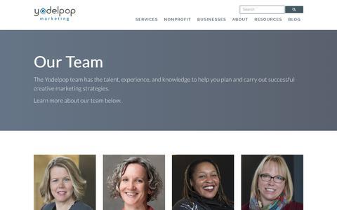 Screenshot of Team Page yodelpop.com - Our Creative Agency Team Members - captured Sept. 20, 2018