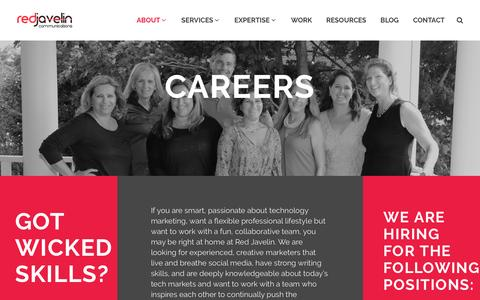 Screenshot of Jobs Page redjavelin.com - Careers - Red Javelin Communications - captured Feb. 17, 2016