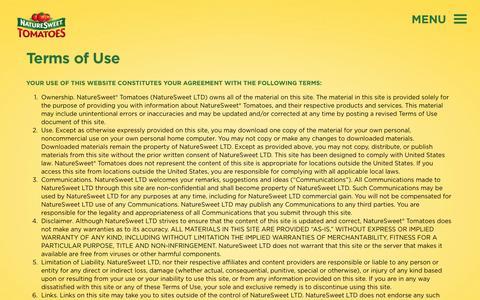 Screenshot of Terms Page naturesweet.com - Terms of Use | NatureSweet - captured Aug. 18, 2016