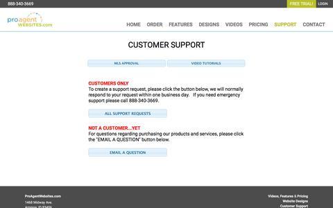 Screenshot of Support Page proagentwebsites.com - ProAgentWebsites.com | Customer Support - captured Sept. 24, 2018