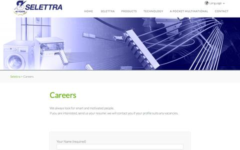 Screenshot of Jobs Page selettra.com - Selettra | Careers | - captured Oct. 3, 2014