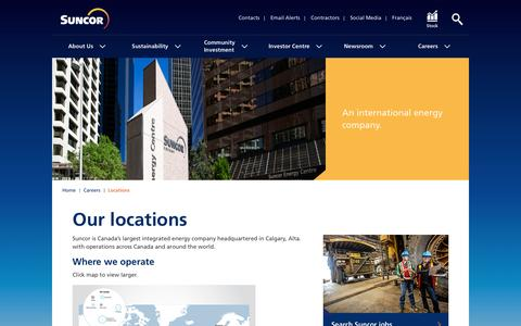 Screenshot of Locations Page suncor.com - Locations – Careers - Suncor - captured April 8, 2016